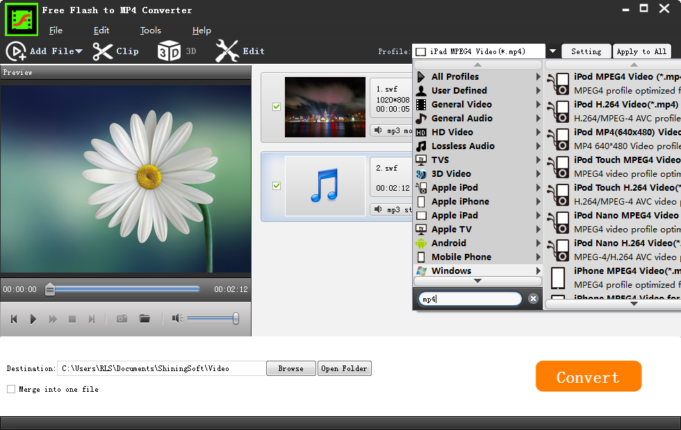 Flash swf to mp4 converter: free to convert flash swf video to mp4.